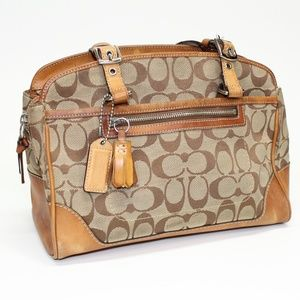 Coach Tan Jacquard #6828 Satchel Bag